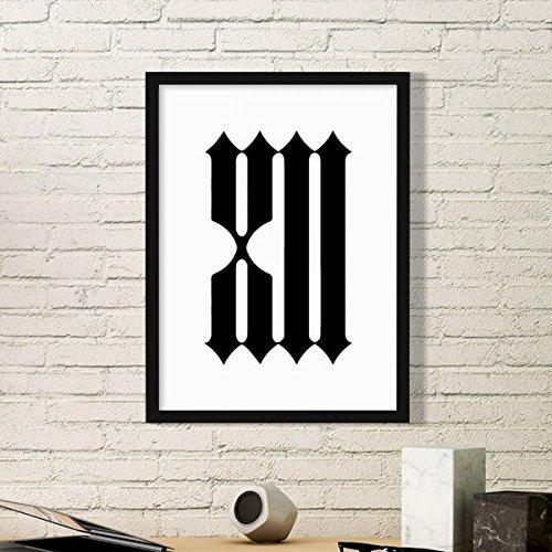 DIYthinker Romeinse cijfers Twaalf In Silhouette Eenvoudige fotolijst Kunst Prints Schilderijen Thuis Muursticker Gift