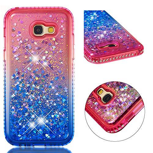 COZY HUT Custodia Samsung Galaxy A5 2017 Glitter Cover,Brillantini Diamond Morbido Silicone Sabbie Mobili Bumper Case per Custodie Samsung Galaxy A5 2017 - Gradiente Blu Rosa