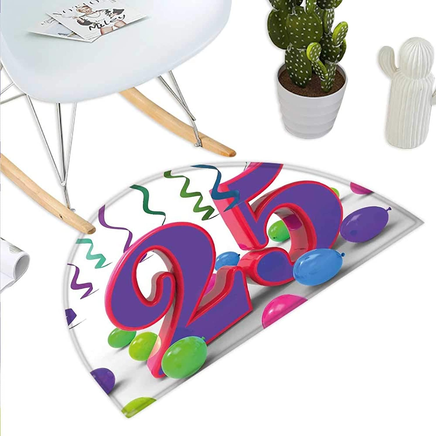 25th Birthday Semicircle Doormat Vibrant Birthday Party Set Up colorful Ribbons and Balloons on The Ground Halfmoon doormats H 27.5  xD 41.3  Multicolor