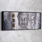 'AWESOMETIK' Panoramic Abstract Buddha Painting Black and White Canvas Print Wall Art Ready To Hang. Made In USA (30in x 12in Modern Black Framed)