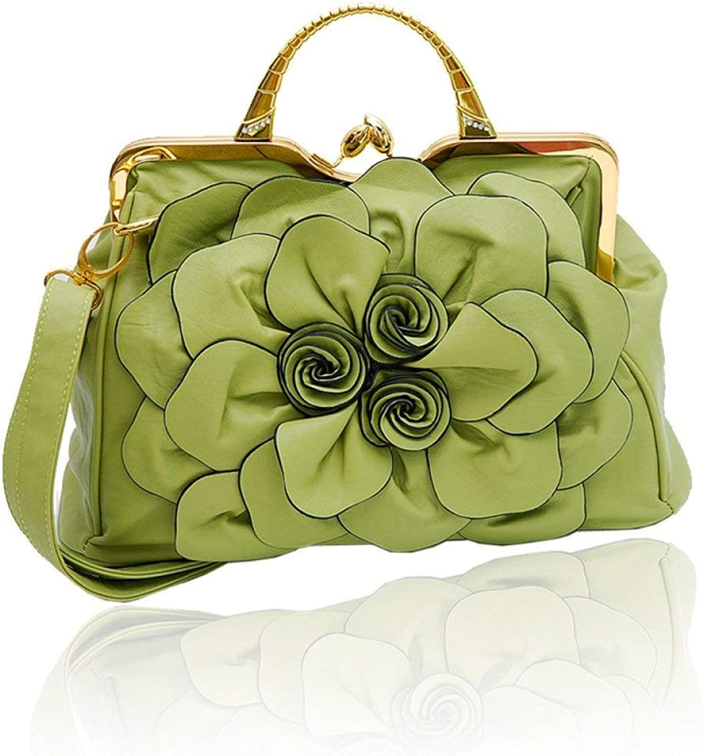 BeTTi 2019 Spring New Women's Bag with DiamondEncrusted pink Big Flower Bag Korean Version Fashion 100 Hand Bill of Lading Shoulder Crossbody Bag (color   Grass Green, Size   Size)