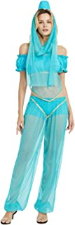 Quesera Women's Princess Jasmine Costume Set Aladdin Arabian Harem Pants Halloween Outfit