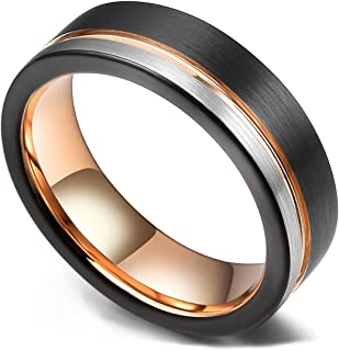 Loop Tungsten Carbide Wedding Band 6mm/8mm Rose Gold Line Ring Black and Silver Brushed Comfort Fit