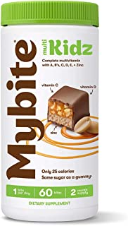 Mybite Kidz Chocolate Multivitamin, 60 Bites, Vitamins A, B6, B12, C, D, E, Zinc, Delicious Supplement with Immune Support...