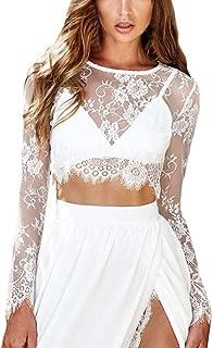 〓COOlCCI〓 Women's Long Sleeve Sexy Sheer Blouse Mesh Lace Crop Top Sheer Floral Lace Blouse Short Shirt