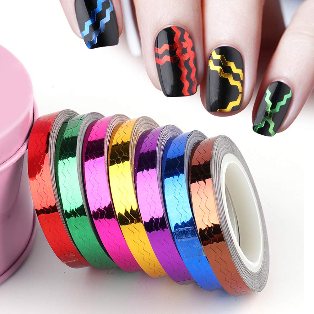 Genuine 7 Rolls Nail Striping Tape Line Decal Mixed sale Colors Tips Nai