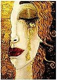 Kits de pintura por números para adultos, pintura al óleo de bricolaje, lágrimas abstractas de Gustav Klimt Digital, lienzo, arte de pared, decoración del hogar-40x50cm con marco