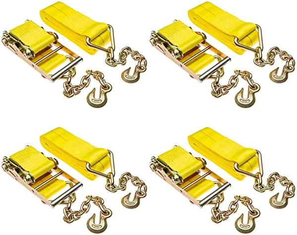 4 Pack Of 4 X 40 Heavy Duty Ratchet Strap With Chain Extensions