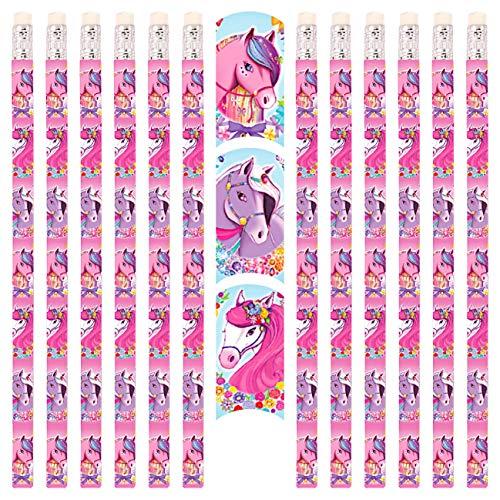 PartyPack 12x Ponies Bleistifte mit Radierer, perfektes Mitgebsel, Ideal zum Schulanfang, Kinder Partygeschenke, Kindergeburtstag Gastgeschenke, Pony Party.