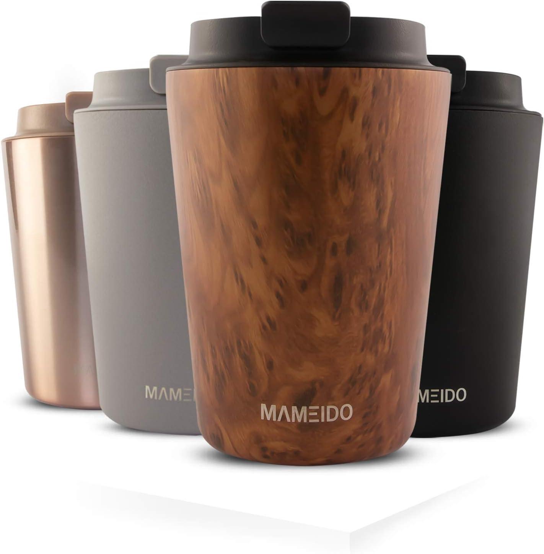 MAMEIDO Taza Térmica 350ml Oak Wood - Termo Café en acero inoxidable sin BPA, Antigoteo - Vaso Termico Cafe y Té para llevar