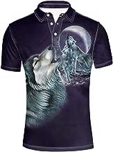 HUGS IDEA Animal 3D Print Men's Fashion Polos Shirt Short Sleeve