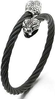 Hombre Serpiente Cabeza Brazalete, Acero Inoxidable Cable Pulsera Plata Negro con Zirconio Cúbico