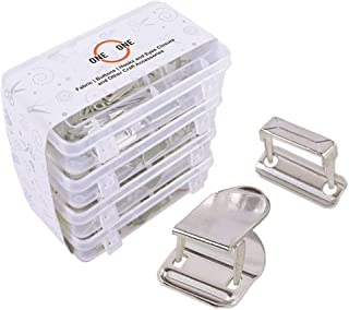 oneOone 25 Sets No-Sew Hook and Bar Closures for Clothing Fastener, Non-Sew On Clasp for Trousers and Skirts