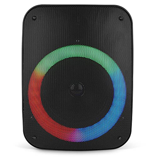 """QFX PBX-136 Portable Bluetooth Speaker with LED Party Lights - Built-in 6.5"""" Subwoofer - Rechargeable Party Speakers, Aux, Wireless, & USB/MicroSD (2021 Model)"""