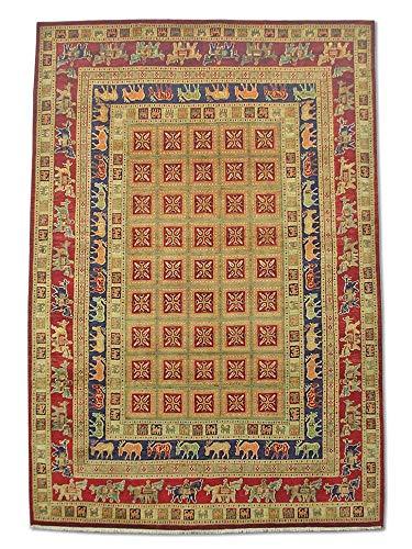 Pak Persian Rugs Handgeknüpfter Pazyryk Teppich, Burgunderrot/Rot, Wolle, Medium, 201 X 296 cm