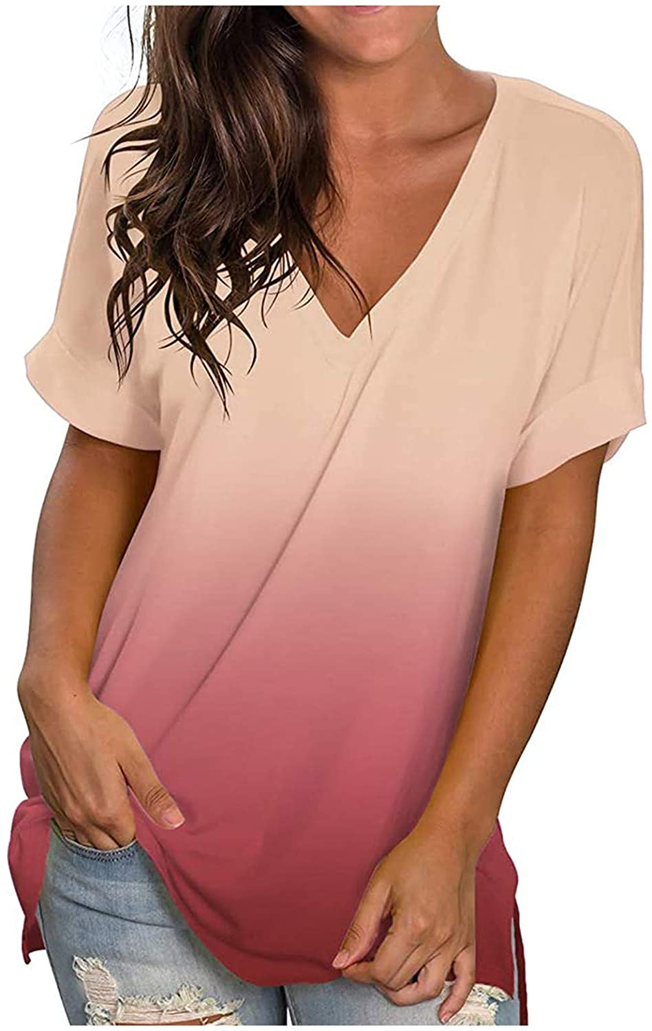 Short Sleeve Tops for Women,Womens V Neck Summer Tops Short Sleeve Henley Shirts Button Up Casual Loose Sexy Boho T Shirts Tunic Tees