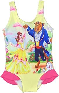 Little Big Girls One Piece Swimsuit Cartoon Beauty and The Beast Cover Skirts Bathing Suit Swimwear 2-8 Years