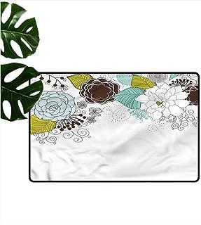 HOMEDD Indoor Doormat,Spring Ornamental Florets Blossoms,with No-Slip Backing,31