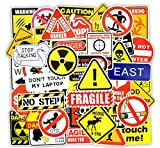 [50 piezas] Señal de advertencia divertida - Vinilo Decal Laptop Sticker Notebook Skin Art Motocicleta Bicicleta Equipaje Graffiti Parches Patineta Snowboard Caja del teléfono Pegatinas