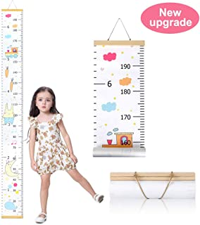 Wall Growth Chart, Canvas and Wood Growth Chart for Kids, Perfect Wall Decor Piece for Kids Room, Baby Room, Nursery, Bedroom, Height Measurement Ruler for Children