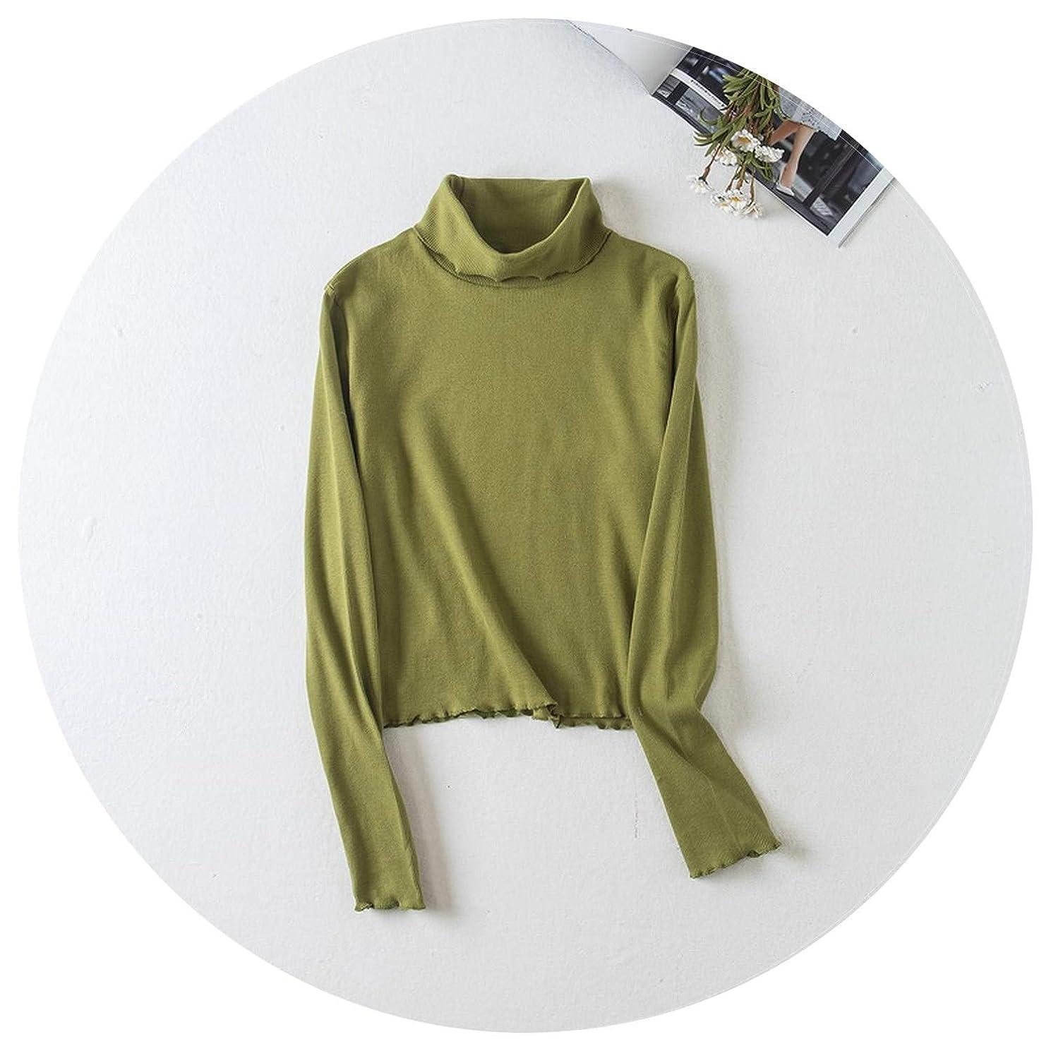 Women Turtleneck Long Sleeve Ruffle Trimming Slim Fit T-Shirt Top