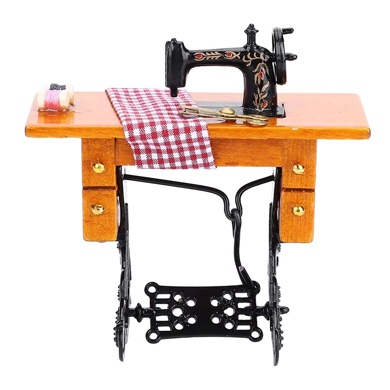 Zerodis Dollhouse Sewing Machine Toy, Kids Mini Furniture Indoor Pretend Toys Educational Toy Role Play Game Doll House Decor Gift for Child Toddlers