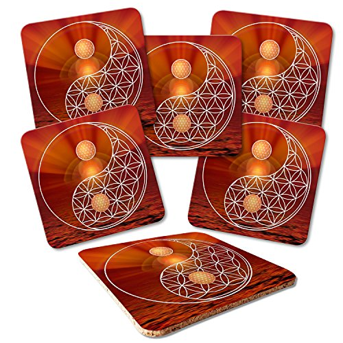 ADDIES Dessous de Plat 6 pièces Set Fleur de Vie en Verre de qualité boîte Cadeau Transparente et Dos en liège, rectangulaire, Motifs de 23
