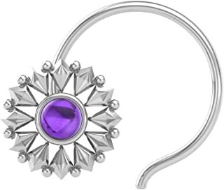 PeenZone 925 Sterling Silver Round Shape Amethyst Stone Cup Setting Nose Pin Stud for Women Girls