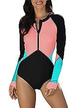 Abtel Vrouwen Eendelig Surfen Badpak Wetsuit Lange Mouw Rash Guard UV Bescherming Beachwear Zip Front Bloemen Badmode
