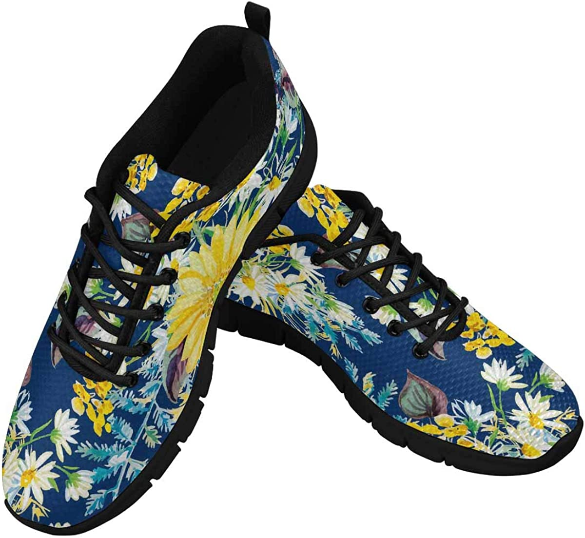 INTERESTPRINT Summer Yellow and White Daisies Women's Breathable Non Slip Sneakers