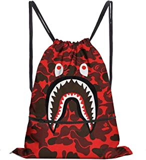 Shark Mouth Waterproof Gym Drawstring Bag,Sports Backpack for Men Women Girls Boys