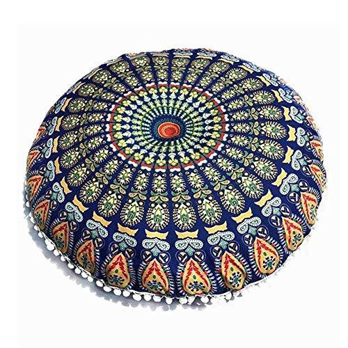DJ grote mandala-vloer kussensloop, ronde Boheemse Meditatie kussensloop voor yoga decor ottoman kruk case-d 43 x 43 cm (17 x 17 inch)