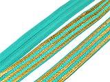 1 m elastisches Gummiband/Faltband 'Golden Stripes' in türkis von Vintageparts, DIY-Schmuck