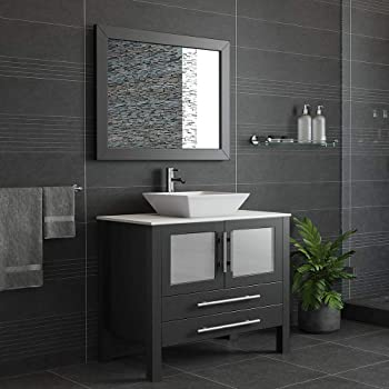 36 Inch Espresso Solid Wood & Porcelain Single Vessel Sink Vanity Set- Canton (Chrome Faucet)