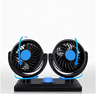 Table Fan Car Mini Fan Double Head 12v 24v Strong Wind Mute Car Interior Refrigeration Car Electric Fan Desktop Fan (Size ...