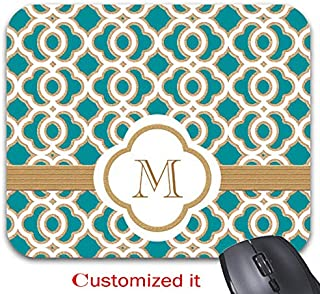 Teal and Gold Moroccan Monogrammed Mouse Pad Stylish Office Computer Accessory 11.8 x 9.8in