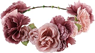 comprar comparacion ULTNICE - Diadema de flores para dama de honor, corona de flores boho, guirnalda floral para el pelo, accesorios para boda...