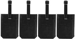 Travel Leather Luggage Baggage Bag Tag Set for Women Men with Full Back Privacy Cover (4Pack, Black)