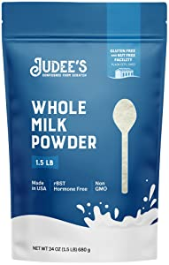 Judee's Whole Milk Powder - 1.5lb (24oz) Resealable Pouch | 100% Non-GMO, rBST Hormone-Free, Gluten-Free & Nut-Free | Pantry Staple, Baking Ready and Great for Travel | Made in USA