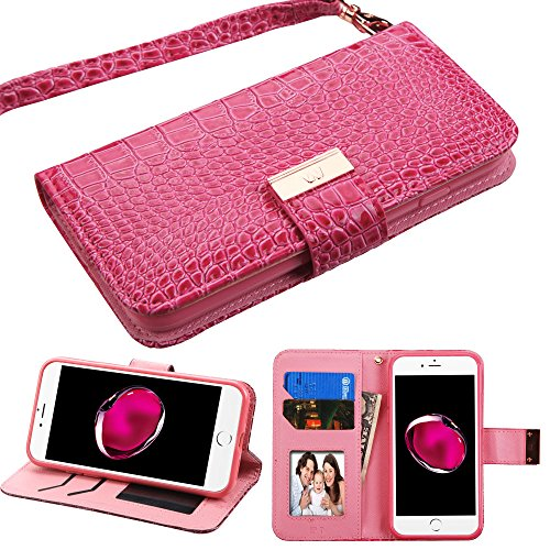 PU Leather Purse Clutch Case Fits Apple iPhone XR / 9 MYBAT Hot Pink Crocodile-Embossed MyJacket Wallet