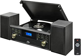 Bluetooth Compatible Classic Vintage Turntable - Retro Record Speaker System w/ CD, Cassette Player, 3-Speed, AUX, AM FM Radio, 2 External Speakers, Vinyl to MP3 Recorder, Remote - Pyle PPTCM80BTGR