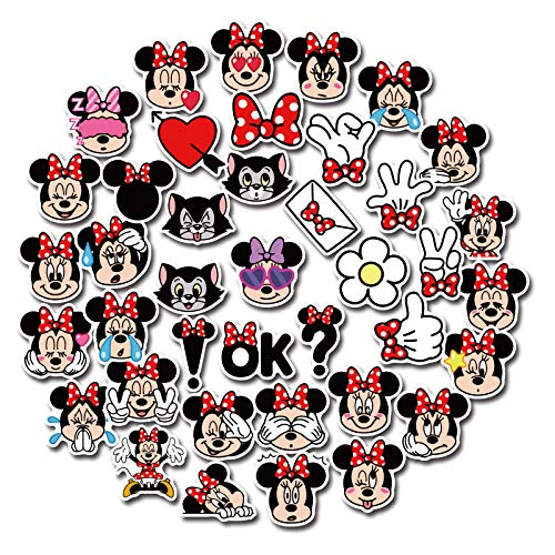 JZLMF 40 pegatinas pequeñas de dibujos animados Mickey Mouse para niños, para teléfono móvil, taza, equipaje, portátil, impermeable