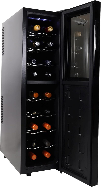 Koolatron Urban Series 18 Bottle Slim Dual Zone Wine Cooler, Thermoelectric Wine Fridge, Freestanding Wine Cellar for Home Bar, Kitchen, Apartment, Condo, Cottage