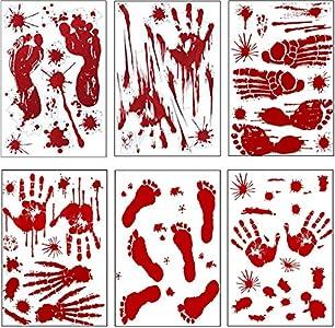 Pegatinas para Halloween, Halloween Pegatinas con huellas de mano sangrientas con huellas de pies decoración Halloween rojo efecto realista sangre huellas dactilares (6 unidades)