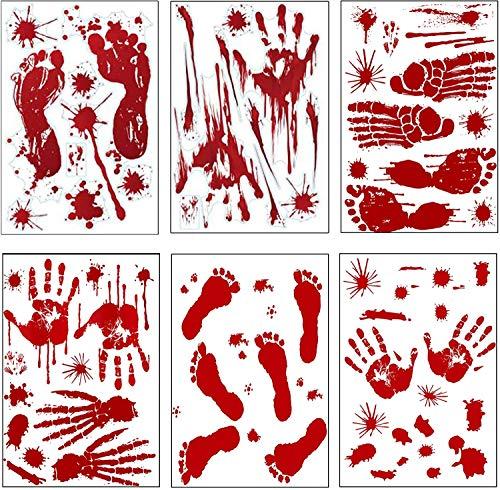 Halloween Blutige Aufkleber, Blutiger Handabdruck Bloody Handprint Aufkleber, Blutige Handabdrücken Fußabdrücken Horror Deko Halloween Fenster Aufkleber für Halloweenparty Badewanne Dekoration