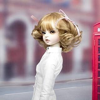 MUZI WIG SD/BJD Doll Wig Hair with Bang Long Roman Curly High Temperature Fiber Tan Color Wigs for 1/3 BJD Dolls