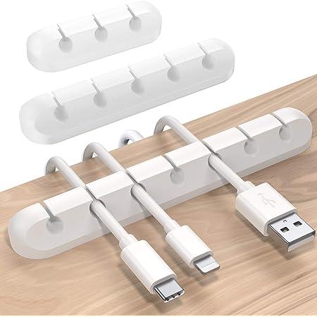 SOULWIT 3本入れ ケーブルホルダー ケーブルクリップ デスク コンピュータデスク USBデータケーブル マウスライン キーボードライン 充電ケーブル ヘッドフォンケーブルの整理に適し 片づけ 優れるシリコン 高品質 両面テープ [3 5 7穴]