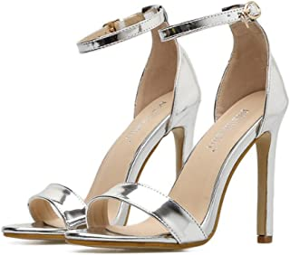 GLJJQMY Buckle Open Toe High Heel Sandals Europe and The United States Solid Color with A Sexy Fashion Ball Party Shoes 35-40 Yards Women's Sandals (Color : Silver, Size : 35)