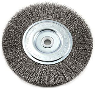 Best Forney 72747 Wire Bench Wheel Brush, Fine Crimped with 1/2-Inch and 5/8-Inch Arbor, 6-Inch-by-.008-Inch Review