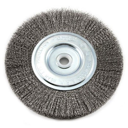 Forney 72747 Wire Bench Wheel Brush, Fine Crimped with 1/2-Inch and 5/8-Inch Arbor, 6-Inch-by-.008-Inch